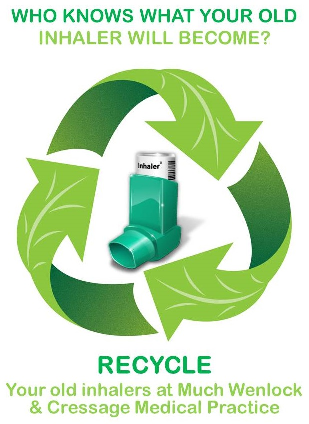 Who knows what your old inhaler will become? Recycle your old inhalers at Much Wenlock and Cressage Medical Practice.